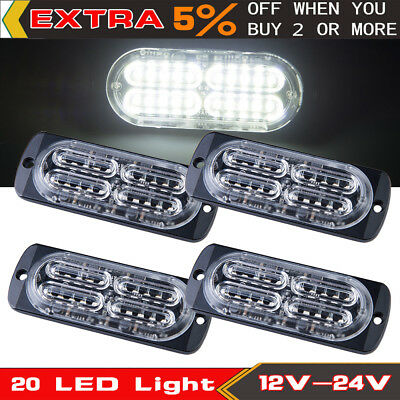 4x Ultra Slim White 20 LED Light Emergency Car Warning Strobe Flash DRL Fog Lamp