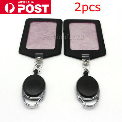 2PCS Retractable Lanyard ID Badge Opal Card Holder Business Security Pass OZ
