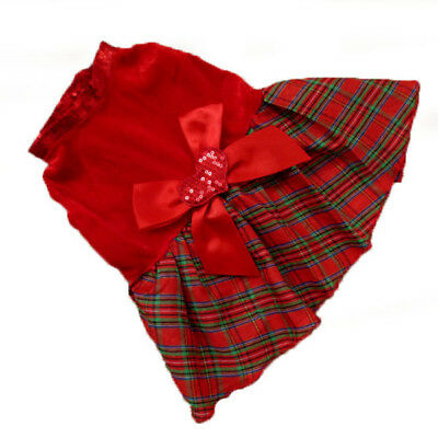 Pet Dog Cat Cute Plaid Bow Apparel Red Dress Clothes Puppy Christmas Party Skirt