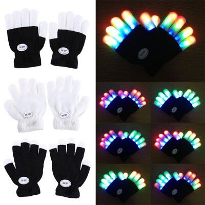 Child Kids 7 Colors LED Flashing Finger Lighting Rave Gloves Concert Party Dance