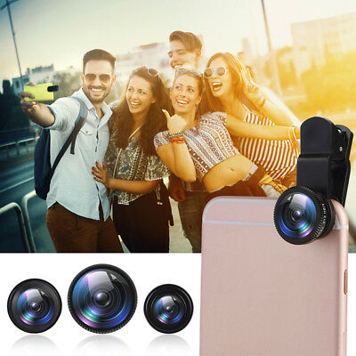 3in1 HD Wide Angle+Fish Eye+Macro+Bag Clip On Camera Lens Kit For Smart Phone QQ