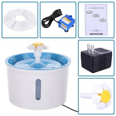 Flower Pet Drinking Water Fountain Electric Cat Dog Automatic Bowl Filter 1.6L