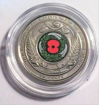 2018 NZ New Zealand 50 Cent Armistice Coin, Second Colour Coin CH UNC in Capsule