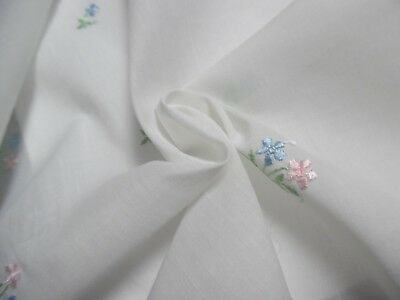 "1970'S EMBROIDERED COTTON LAWN~SMALL FLORAL~PINK/BLUE/WHITE~9""x46""~DOLL FABRIC"