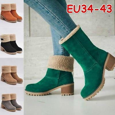 Fashion Women's Suede Snow Boots Winter Fur Thicken Mid Calf Casual Ankle Shoes
