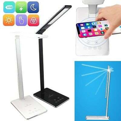 2in1 QI Wireless Phone Charger Fold Reading Light USB Charge LED Desk Lamp Table