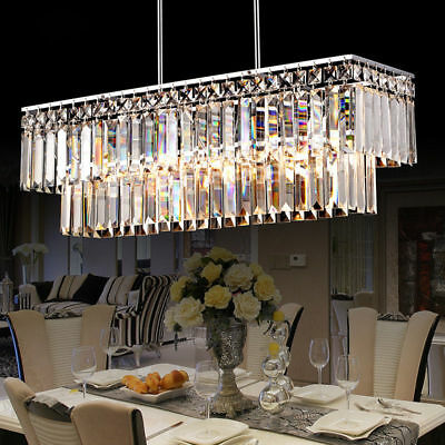 Radiant Prismatic Clear Crystal Suspended Pendant for Dining Table Ceiling Light