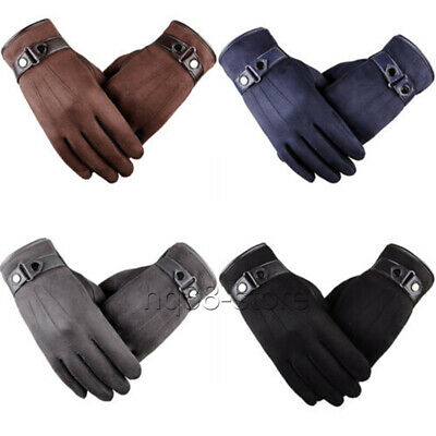 Mens Winter Warm Gloves Suede Leather Full Finger Touch Screen Fashion 4 Colors