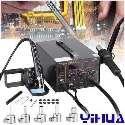 YIHUA 968DA+ Soldering Iron Station Rework Kit Hot Air Gun LED Digital Welder