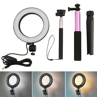 LED 3 Modes 40W 5500K Dimmable Studio Camera Ring Light Photo Phone Video Pink