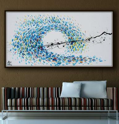 "Abstract Painting 55"" Wave painting, Original and handmade, warm & cold colors"