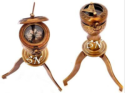 Marine Old Antique Brass Beautiful Stand Marine Sundial Compass Desk Decor