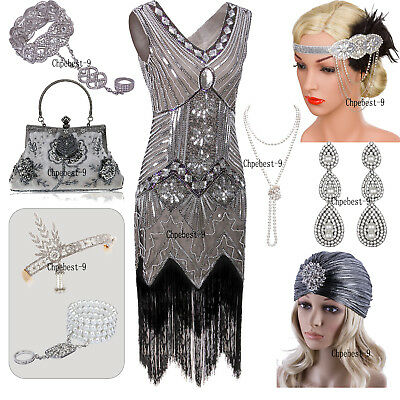 Vintage 1920s Flapper Dress 20s Gatsby Party Evening Gowns Prom Women's Clothing