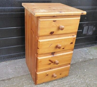 Vintage Solid Pine small Chest of 4 Drawers