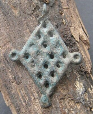 "Ancient Viking bronze amulet pendant ""chainmail"" 9-12 century"