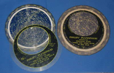 Two versions of vintage Phillips planispheres, celestial maps of star formations