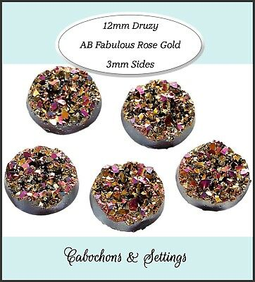 10 x Druzy 11.5 - 12mm Cabochon Shades of Fabulous Rose Golds For Earrings.
