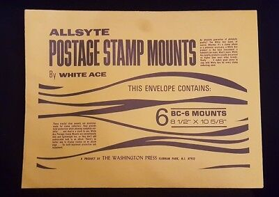 """Allsyte BC-6 Stamp Mounts by White Ace, 8 1/2"""" x 10 5/8"""""""