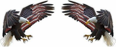 Eagle American Flag on Wing Pair Left and Right Bumper Sticker Vinyl Decal
