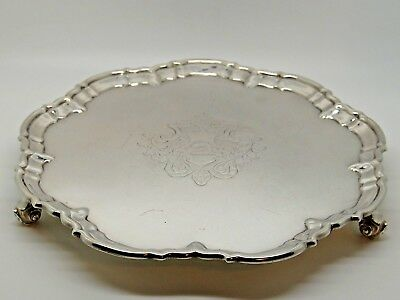 Antique Victorian Silver Salver / Waiter London 1891 – William Hutton & Son 654g