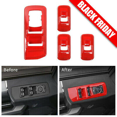 Red Window Lift Panel Switch Decor Covers Trim for 2015 2016 2017 2018 Ford F150