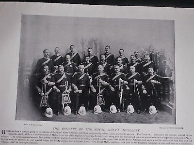 OFFICERS OF THE ROYAL MALTA ARTILLERY 1896 Photo Print + Gens. Seymour & Butler