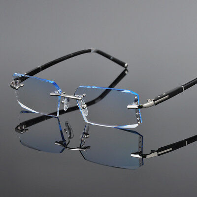 Fashion Eyeglass Frames for Men with Color Cutting Lens Rimless Glasses Frames
