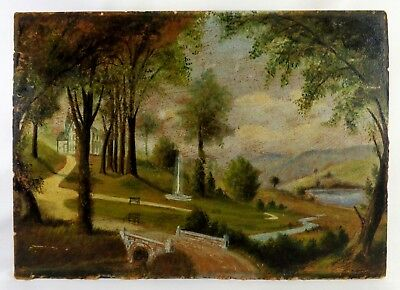 Mid-19Th C Antique American Hudson River School Oil On Millboard Landscape 1855