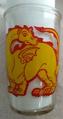 Brockway Jelly Juice Glass Red Yellow Dragon.