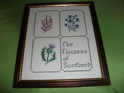 Beautiful Embroidered Hardwood Framed  Picture Of The Flowers Of Scotland
