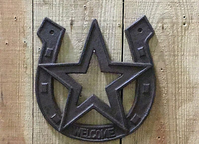 Cast Iron Welcome Horseshoe with Star Rustic Brown Western Decor Wall Mount