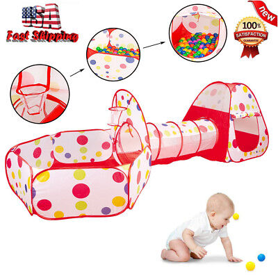 Funny Polka-dot 3in 1 Folding Kid's Play Tent, Tunnel, Ball Pit And Play House