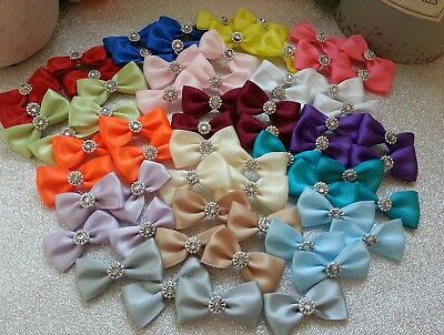 Handmade satin fabric bow embellishments wedding crafts