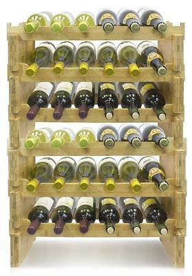 6-Tier Stackable Bamboo Wine Rack 36 Bottles Holder Storage Shelves Wood Sturdy