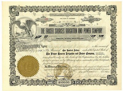 Fraser Sources Irrigation and Power Company. Stock Certificate. Colorado 1920