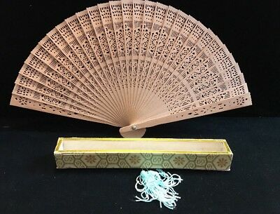 Chinese or Oriental Motif Wooden Hand Fan With Original Box (Q)