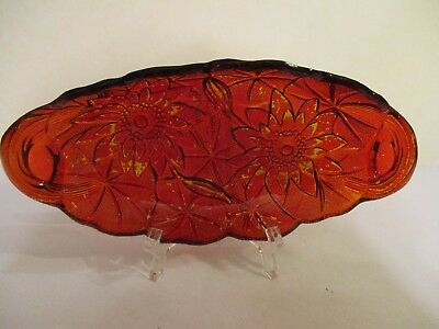 Vintage ~ Ruby Flash? Oval Relish Dish With Poinsettia Design