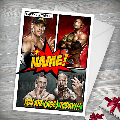 WWE CENA ROCK   Personalised Birthday Card!   FREE 1st Class Shipping!