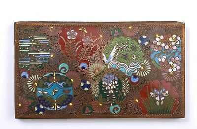 1930's Japanese Cloisonne Enamel Shippo Box with Butterfly & Flowers