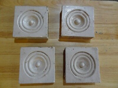 4 Antique Victorian Bulls-Eye Corner Molding Plinth Blocks Old Chippy Paint
