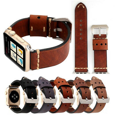 38/42mm Retro iWatch Leather Band Cowhide Strap Bracelet for Apple Watch 4 3 2 1
