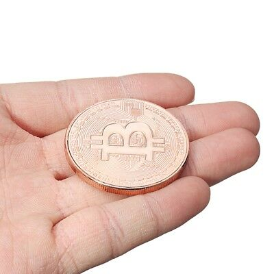 1Pcs Rose Gold Bitcoin Model Commemorative Coin Btc new hot very good gift