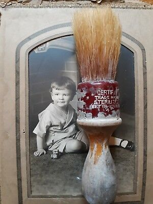 Old Wood Handle Shaving Brush Sterilized Set In Rubber  4 Farmhouse Find Rustic