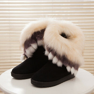 Womens Winter Faux Fur Snow Boots With Velvet Lined Thicken Warm Cotton Shoes
