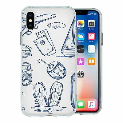 For Apple iPhone X Silicone Case Travel Holiday Pattern - S4750