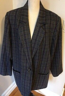16ce3cdc0 Sag Harbor Women's Jacket Blazer Plaid Wool Lined Long Sleeve Plus Size 22W