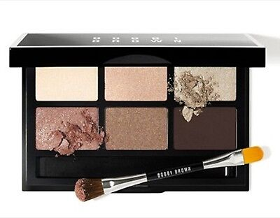 Bobbi Brown Party Eye Palette NIB Shadow Brush Pink Blaze Black Chocolate Bone