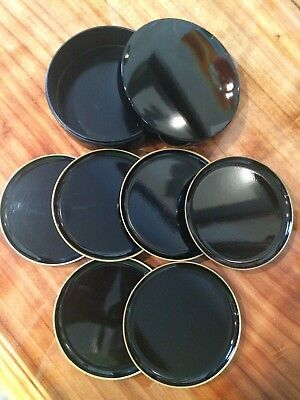 Black Lacquer Gold Rimmed Coasters Set of 6 with Holder from Japan
