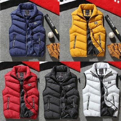 Men's Winter Warm Coat Down Cotton Padded Sleeveless Jacket Vest Waistcoat Parka