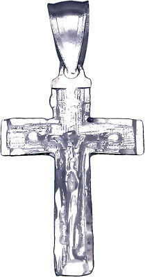 """925 Sterling Silver Crucifix Cross Charm with Jesus Pendant Necklace 18"""" Chain"""